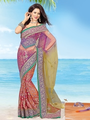 Ambica Multi-Coloured Embroidered Net Fashion Saree