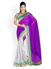 Ambica Purple & White Printed Brasso & Chiffon Fashion Saree