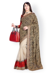 Ambica Black & Cream Coloured Embroidered Georgette Fashion Saree