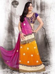 Ambica Pink & Orange Embroidered Chiffon Lehenga Saree