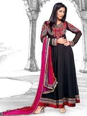 Ambica Black Anarkali Semi-Stitched Dress Material