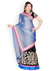 Ambica Black & Blue Embroidered Net Fashion Saree