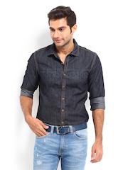 American Bull Men Blue Slim Fit Denim Casual Shirt