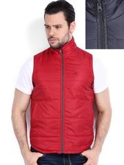 American Bull Men Grey & Red Reversible Sleeveless Jacket