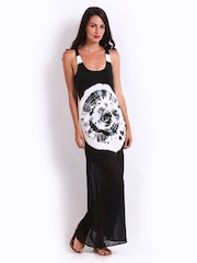 American Laundry Black Tie-Dye Print Maxi Dress