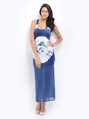 American Laundry Blue & White Tie-Dye Print Maxi Dress