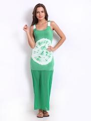 American Laundry Green & White Tie-Dye Print Maxi Dress