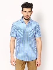American Swan Men Blue & White Smart Fit Checked Smart-Casual Shirt