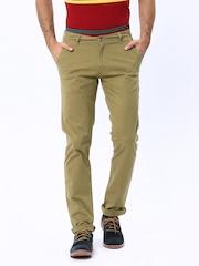 American Swan Men Khaki Slim Fit Casual Trousers