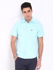 American Swan Men Light Blue Smart Fit Casual Shirt