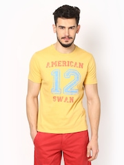 American Swan Men Mustard Yellow Printed T-shirt