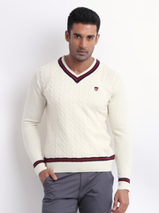 American Swan Men Off-White Wool Blend Sphinx Society Sweater