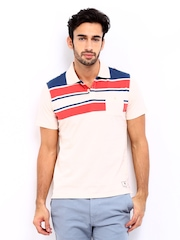 American Swan Men Peach Coloured Striped Polo T-shirt