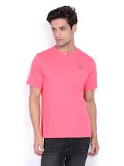 American Swan Men Pink Henley T-shirt
