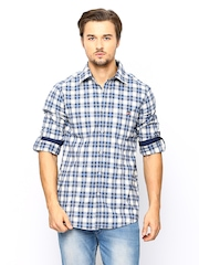 American Swan Men Blue & Off-White Checked Casual Shirt