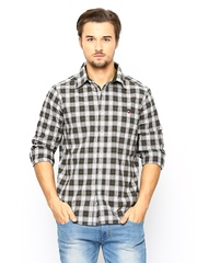 American Swan Men Olive Green & White Checked Casual Shirt