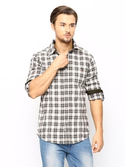 American Swan Men Green & Off-White Checked Casual Shirt