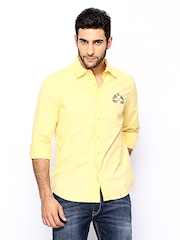 American Swan Men Yellow Casual Shirt