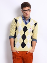 American Swan Men Yellow Park Street Argyle Sweater
