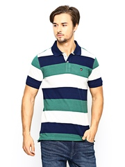 American Swan Men Multicoloured Striped Polo T-shirt