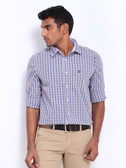 American Swan Men White & Blue Checked Smart Fit Casual Shirt