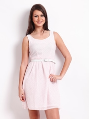 American Swan White & Pink Printed Fit & Flare Dress