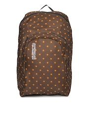American Tourister Unisex Brown Printed Jiffy Oxford Backpack