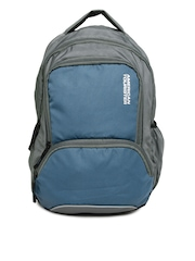 American Tourister Unisex Grey & Blue Backpack