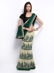 Anamica Green & Cream Coloured Embroidered Georgette One Minute Saree