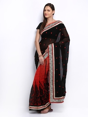 Anamica Orange & Black Embroidered Georgette One Minute Saree