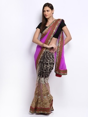 Anamica Purple & Peach Coloured Embroidered Georgette One Minute Saree