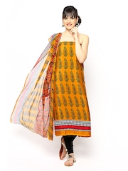Anamica Yellow & Red Crepe Unstitched Dress Material