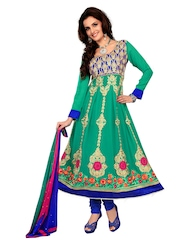 Anamica Green & Blue Georgette Semi-Stitched Dress Material