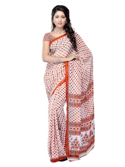 White & Brown Georgette Printed Saree Anamica
