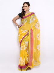 Anamica Yellow Printed Chiffon Fashion Saree