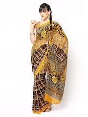 Yellow & Brown Georgette Printed Saree Anamica