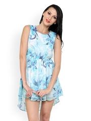 Anasazi Blue Floral Print High-Low Dress