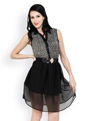 Anasazi Black Printed Fit & Flare Dress