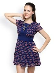 Anasazi Blue Floral Print Fit & Flare Dress