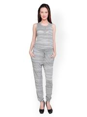 Anasazi Women Grey & White Striped Jumpsuit