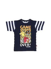 Angry Birds Boys Navy & White Printed T-shirt