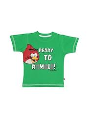 Angry Birds Boys Green Printed T-shirt