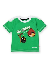 Angry Birds Boys Green Printed T-shirt