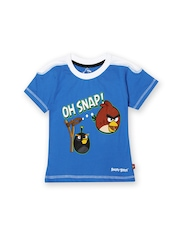 Angry Birds Boys Blue Printed T-shirt