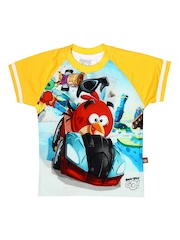 Angry Birds Boys Yellow & White Printed T-shirt