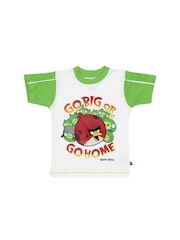 Angry Birds Boys White and Green Printed T-shirt