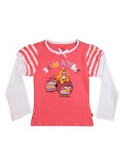 Angry Birds Girls Orange Printed T-shirt