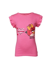 Angry Birds Girls Pink Printed T-shirt