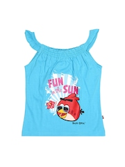 Angry Birds Girls Blue Printed Top