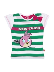 Angry Birds Girls White & Green Striped Top
